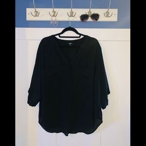 Black blouse with pocket detail
